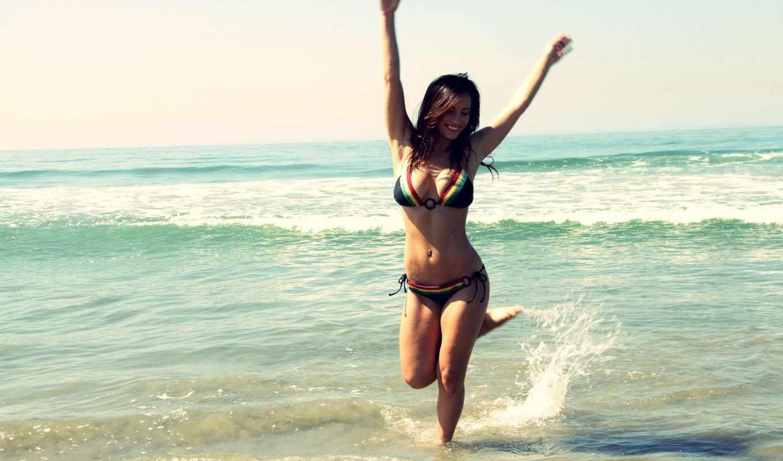 море, обои, девушка, пляж, девушки, купальник, бик