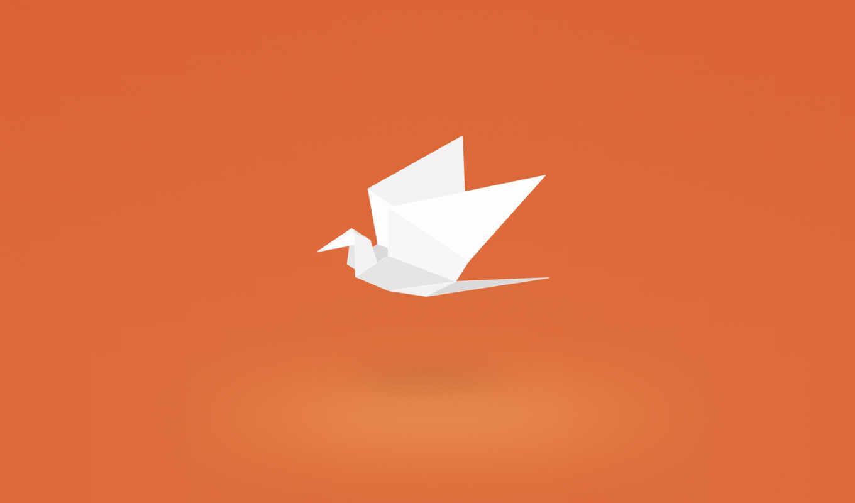 ,оригами,птичка,оранжевый,
