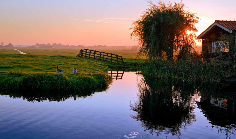 закат, пруд, дом, картинка,