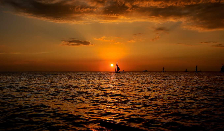 закат, лодки, море, landscape, марта,