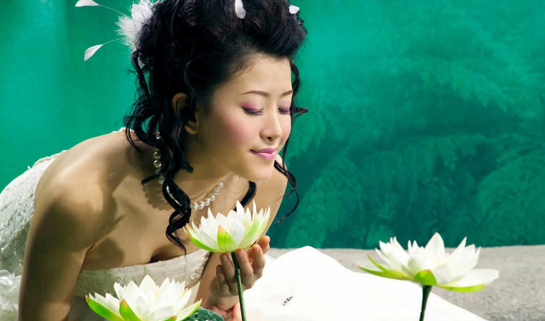 asian, девушка, невеста, лотос, цветы, запах