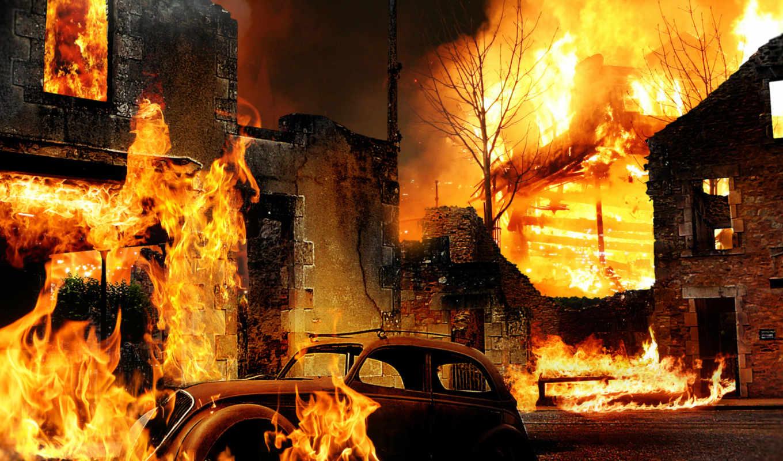 огонь, пожаров, creativ, здания,