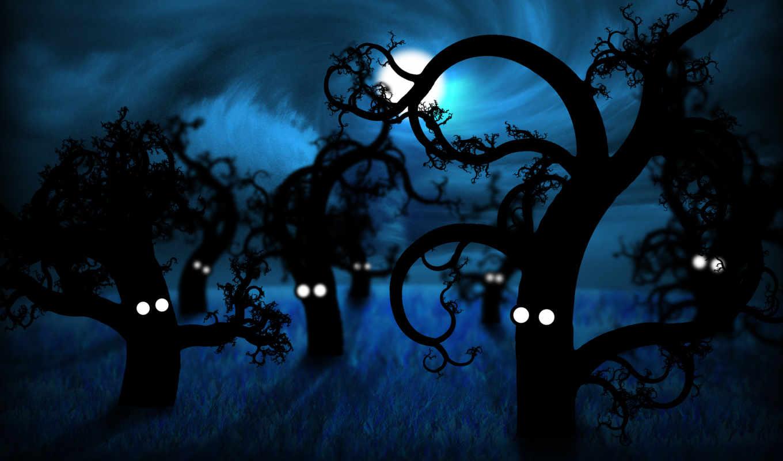 лесу, ночью, жутко,