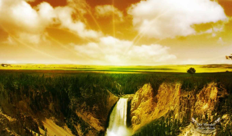 yellowstone, falls, national, park, lower, каньон, река, wyoming, деревня, fotos, grand,