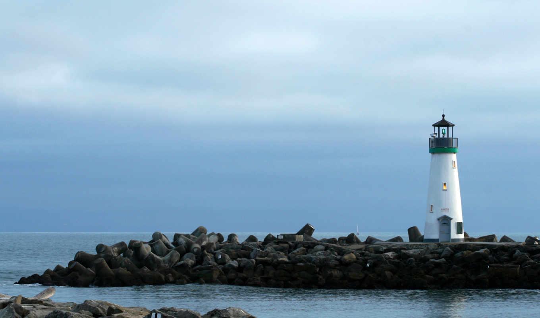 маяк, небо, пейзаж, вечер, wallpaper, hd, lighthouse, lighthouses, harbor, beacon, beach, view, wallpapers, background, full, картинку, desktop, картинка,