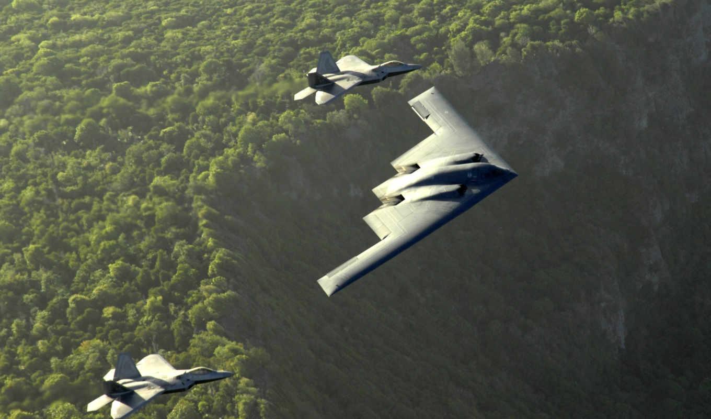 бомбардировщик, spirit, авиация, northrop, стратегический, истребители, самолёт, военный, малозаметный, невидимка, пейзаж, лес,  b2,стелс, b-2, spirit
