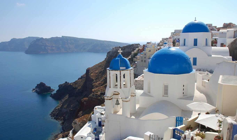 greece, море, взгляд, здания,