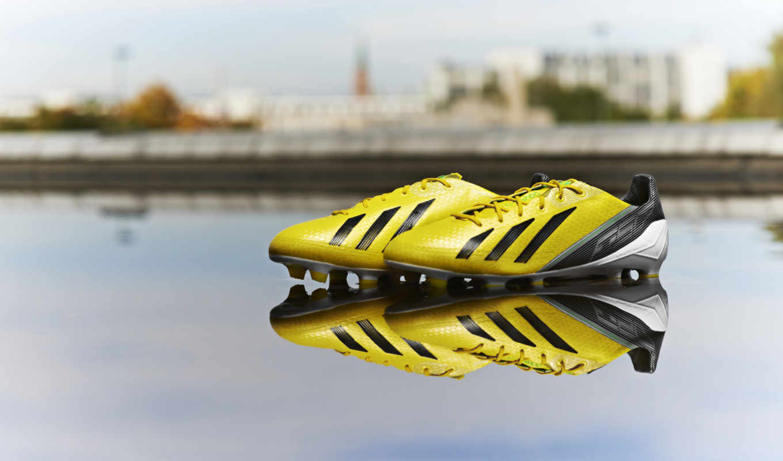 бутсы, adidas, туфли, отражение, yellow,