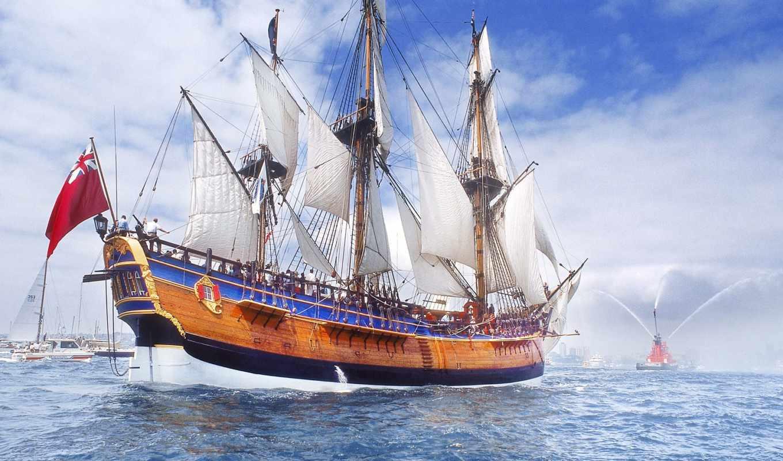 красивые, корабли, парусники, парусные,