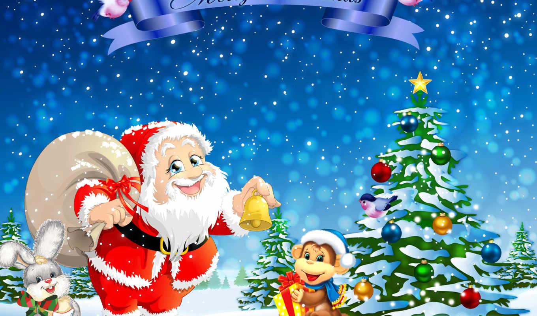 клаус, санта, иней, дед, new, christmas, год, елка,