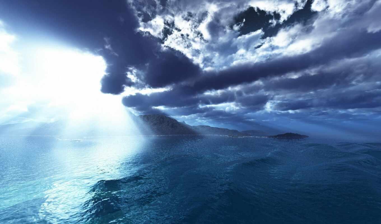 остров, облако, рассвет, арта, sun, zero, горизонт, lineage