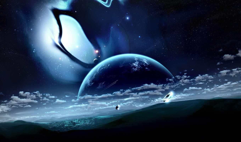 город, space, облака, similar, die, планета,