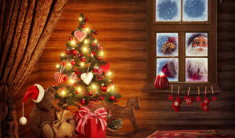 christmas, клипарт, new, растровый, merry, дерево, год,