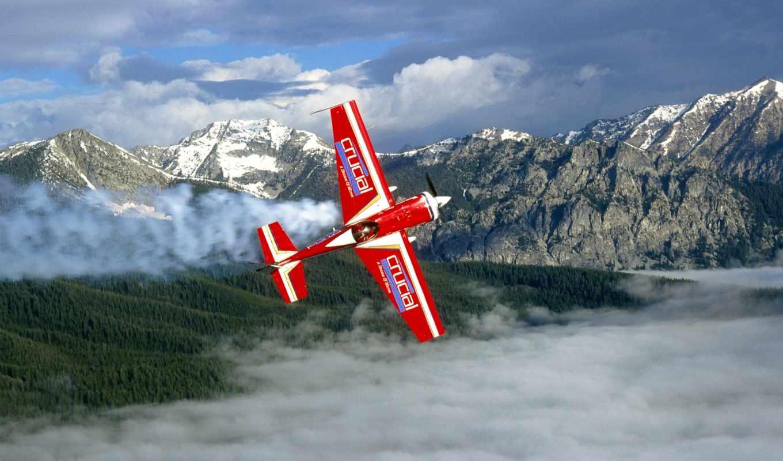 mountains, plane, airplane, небо, clouds, desktop,