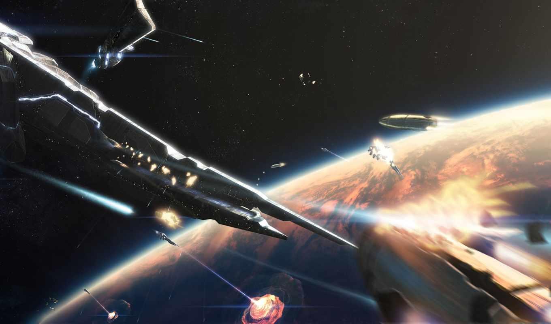 cosmic, корабль, бой, planet, ray, shot, взрыв, art