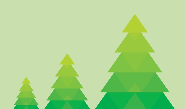 минимализм, елки, зеленые,