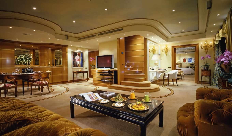интерьер, лестница, люкс, квартира, пентхаус, люстра, телевизор, дизайн, комната, диваны, кнопкой, гостиная, правой,