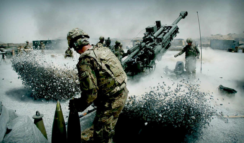 артиллерия, солдаты, пыль, отдача, залп, смотрите,