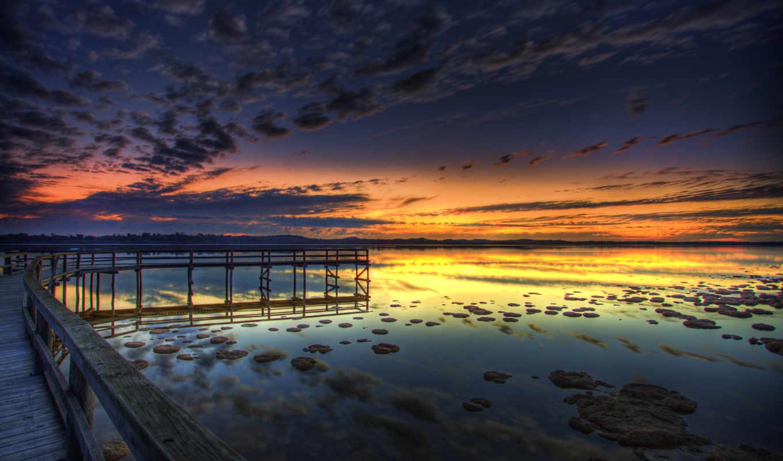 озеро, пирс, вечер, прогулочная, вода, отражение, картинка,