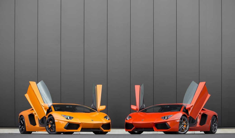 lamborghini, оранжевый, aventador, два, arancio, red, yellow, небо, марта,
