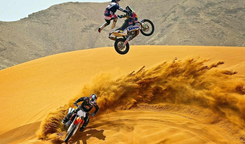мотокросс, мотоциклы, пустыня, песок, спорт,