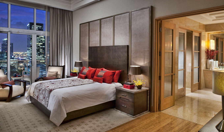 кровать, постель, interer, спальня, dom, квартира,