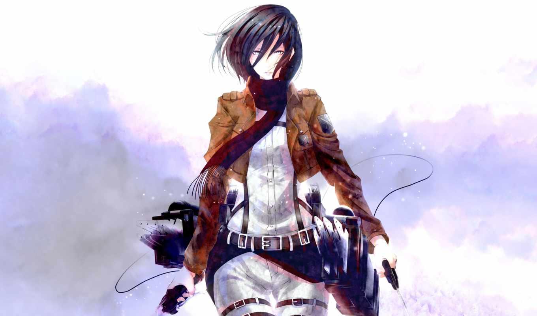 anim, девушка, взгляд, mikasa, ackerman, art, заставки,