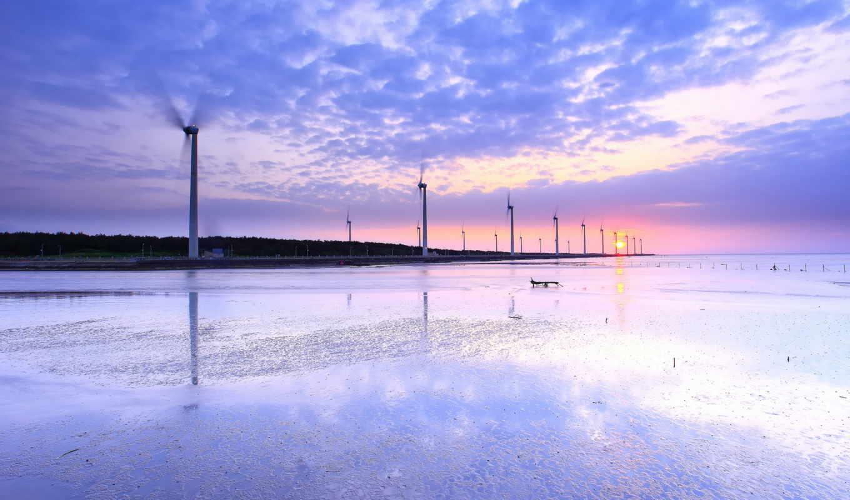 небо, вечер, water, озеро, горы, красивые, ветряки, розовый, отражение, закат,