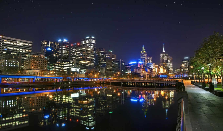 огни, австралия, город, города, melbourne, мира, небо, хорошего, ночь, ночных, качества,