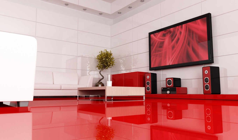 пол, картинку, room, стиль, home, design, красный, modern, интерьер, интерьера, living, мебель, system, телевизор, тек, цвет, хай, интерьере, theater,