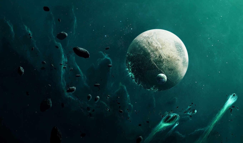 космос, астероиды, планета, бомбардировка, картинка, картинку, планеты,