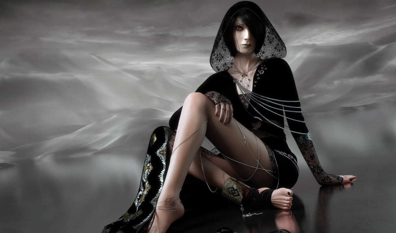 black, fantasy, girl, fonds, ecran, небо, платье, hintergrundbilder,