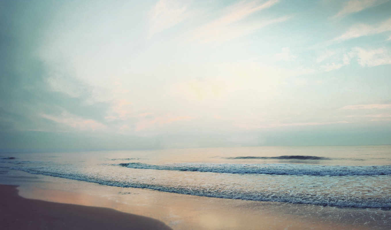 море, небо, волны, облака, океан, лето, пейзаж, calm, waves, пляж, песок, картинка, берег,