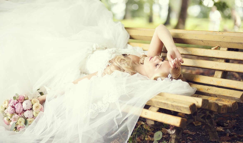 цветы, качестве, скамейка, количество, девушка, красивые,