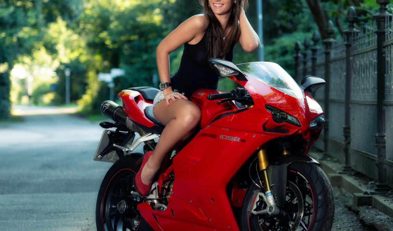 ducati, мотоцикл, дорога, девушка,