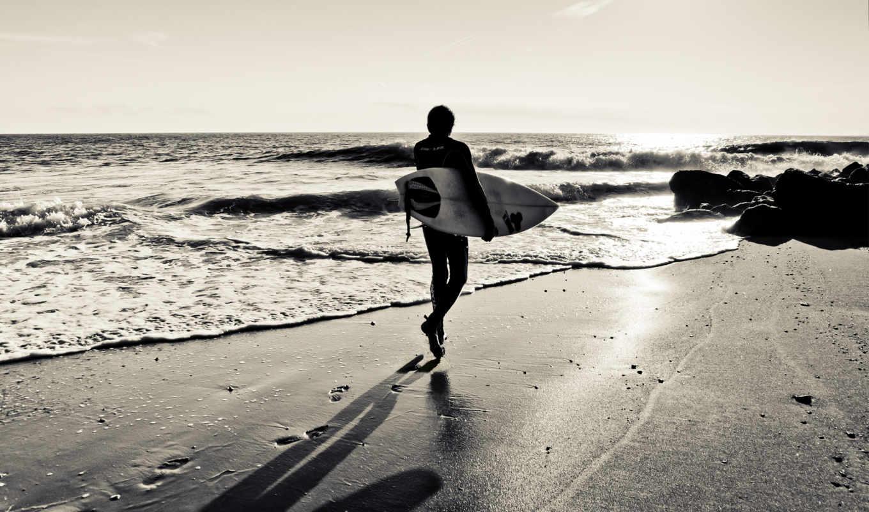 сёрфинг, доска, взгляд, силуэт, спорт, волна, море, песок, серфер,