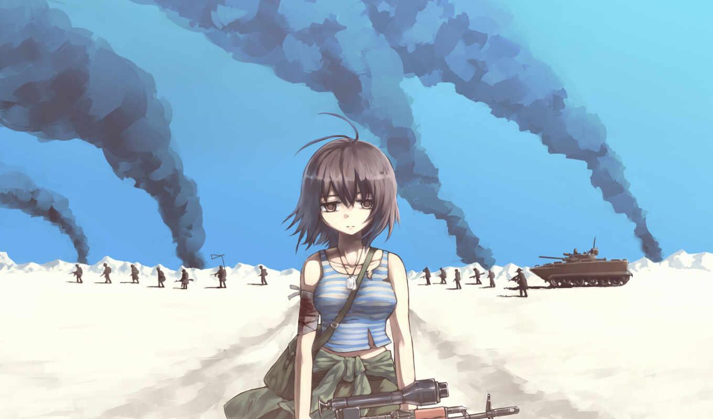 anime, форма, военная, девушка, девушки, картинка,