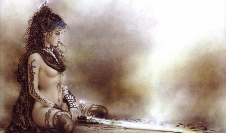 фэнтези, девушка, royo, луис, девушки, меч,