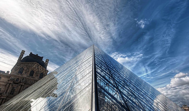 louvre, париж, небо, картинка, architecture, города, франция, облака,