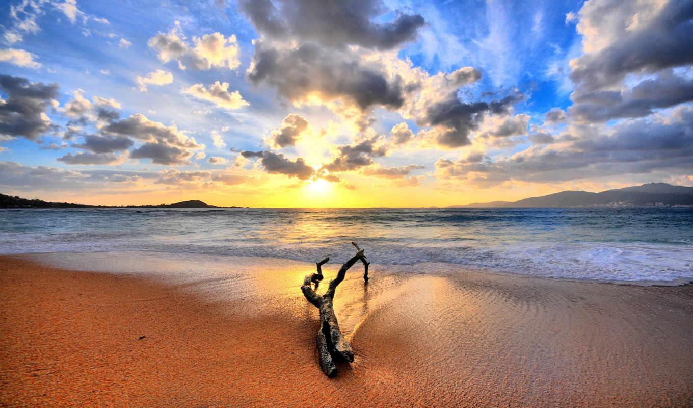 oblaka, пейзаж, ipad, небесные, пляж,море,