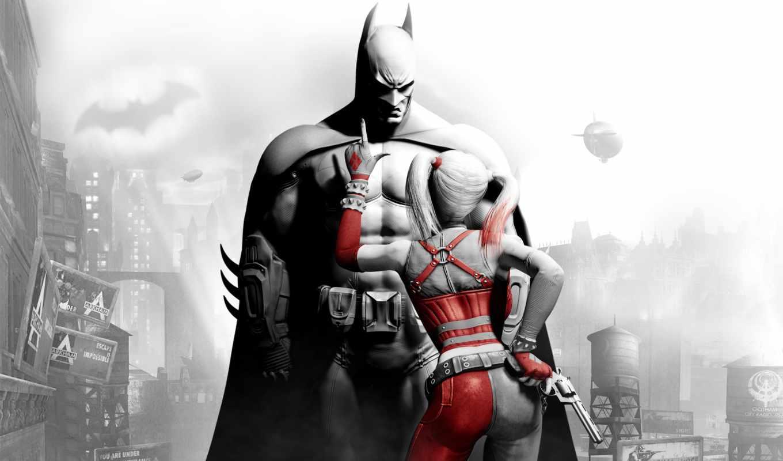 игры, batman, arkham, город, харли, супергерой, куин,