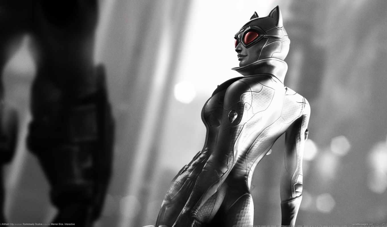 arkham, город, женщина, кот, batman, catwoman, логотип,
