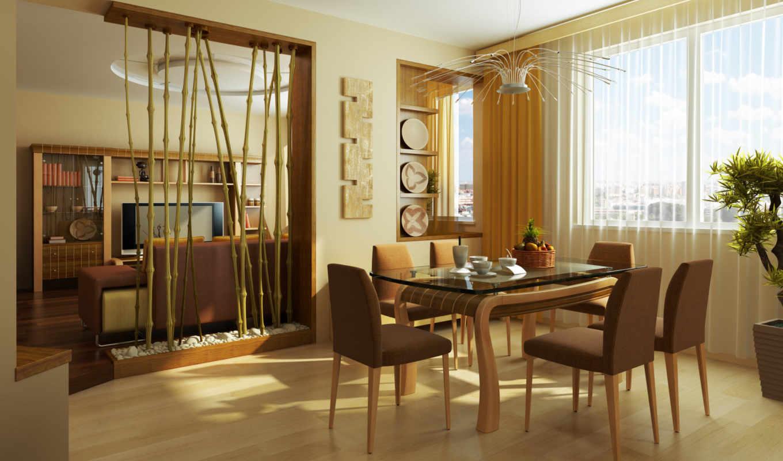 цветы, house, room, картинка, стиль, листья, design, интерьер, living, квартира, стулья, растения, кружки, бамбуковые, чашки, столовая, зал, столовой, перегородка, бамбуковая,
