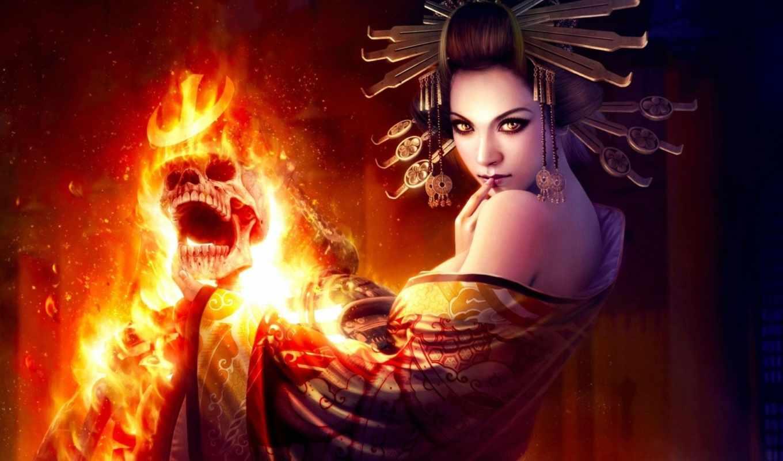 череп, девушка, wibisono, mario, огонь, склет, украшения, арт, магия, картинку,