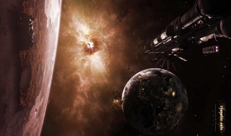 поверхность, спутник, планета, кратеры, spaceships,