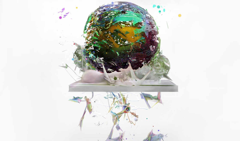 art, куски, шар, earth,