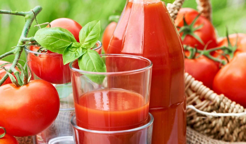 томатный, сок, помидоры, красные,