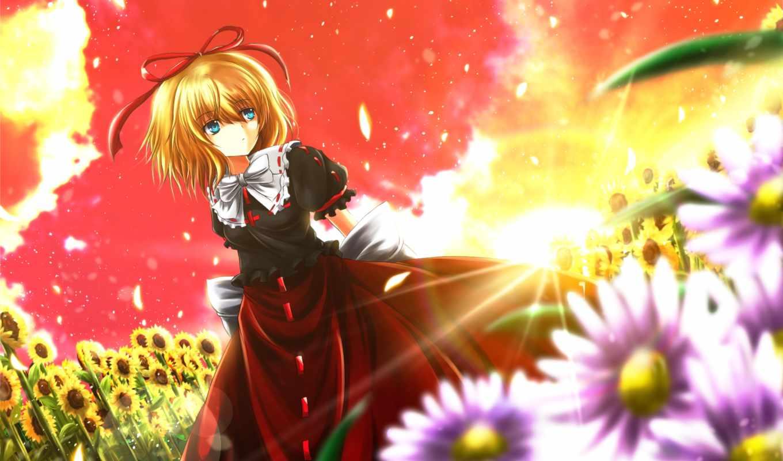 аниме, изображение, picsfab, фабрика, eyes, blue, medicine, melancholy, hair, blonde, картинок, flowers, touhou, nekominase, similar,