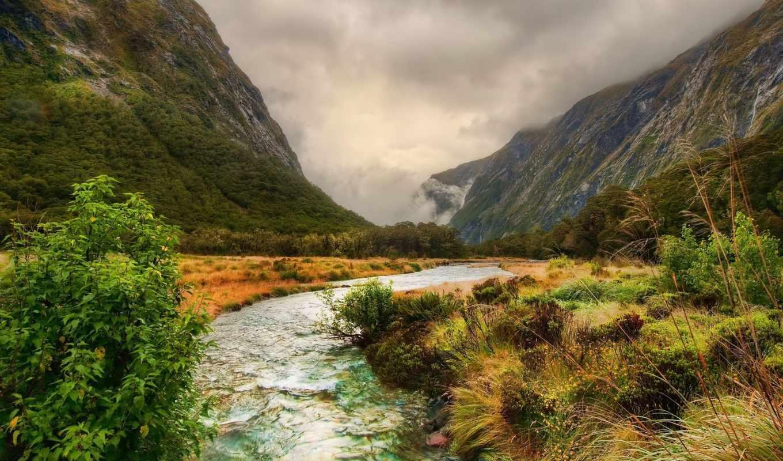речка, горы, облака, природа, лес, картинка, похожие, деревья, ручей, пейзаж, смотрите, grand, темы,