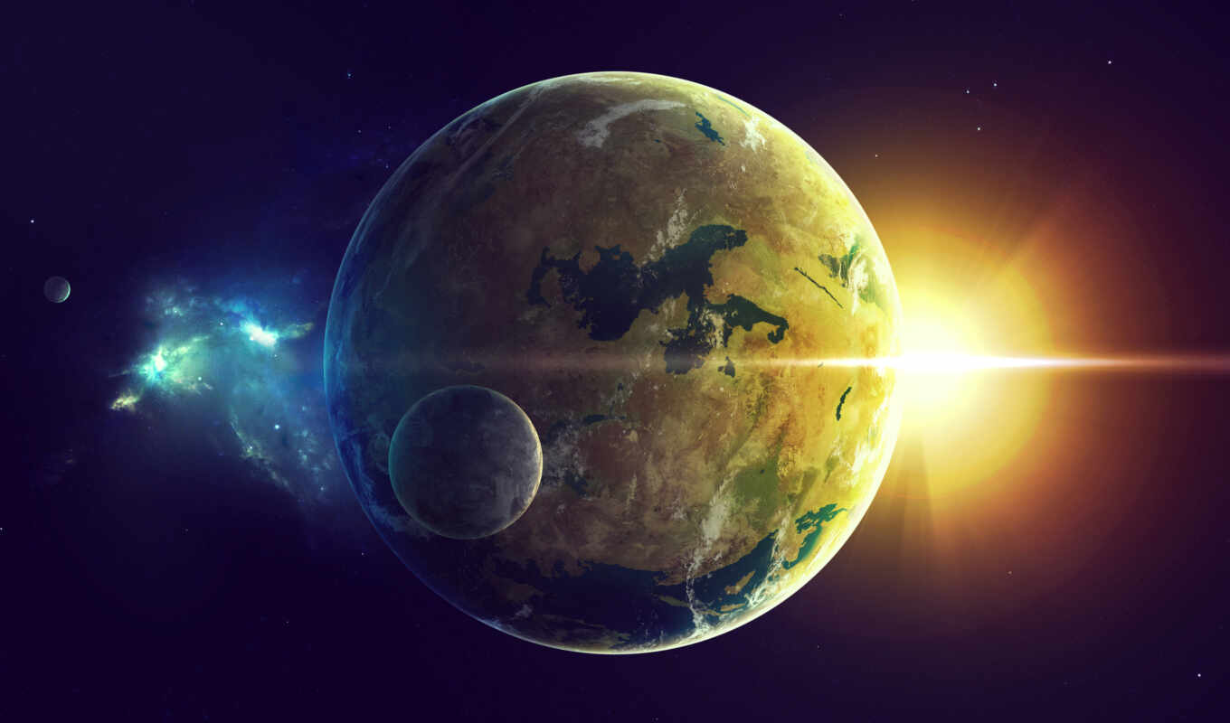 sci, light, two, land, star, oceans, planet, картинка, картинку,